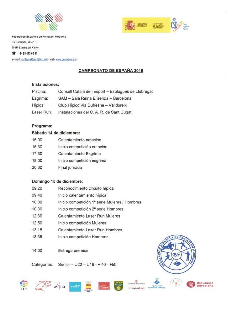 Programa Campionat d'Espanya 14-15 desembre 2019